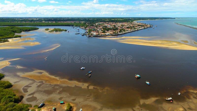 Porto Seguro, Bahia, Brazil: View of beautiful river with dark water stock images