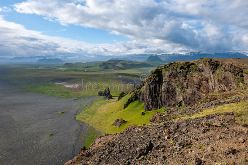 Fantastic landscape with view to the hills and mountains, Iceland stock photo