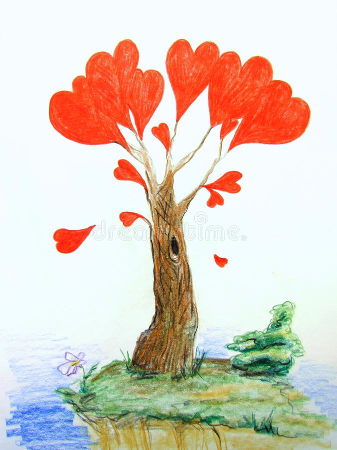 Fantastic love tree with bright red hearts instead of leaves drawn with pencils. Fantastic love tree with bright red hearts instead of leaves drawn with stock illustration