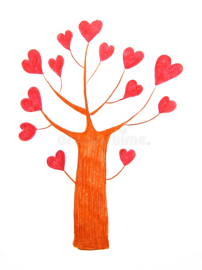 Fantastic love tree with bright red hearts instead of leaves drawn with pencils stock illustration