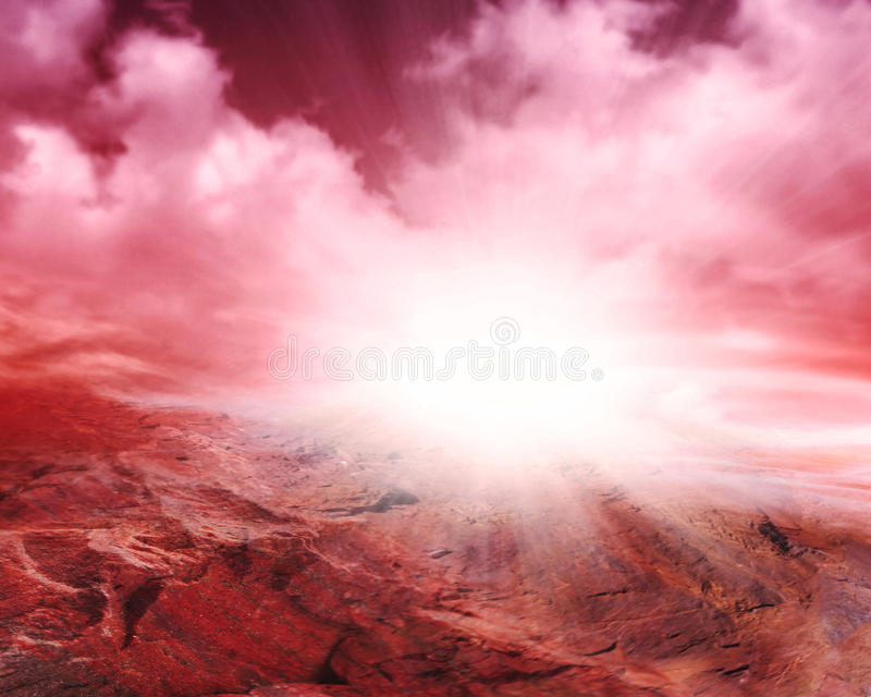 Fantastic martian landscape . Planet Mars. Illustration of fantastic landscape of red planet . Planet Hell . Lifeless earth . Others fiery planet . Volcanic royalty free stock photography