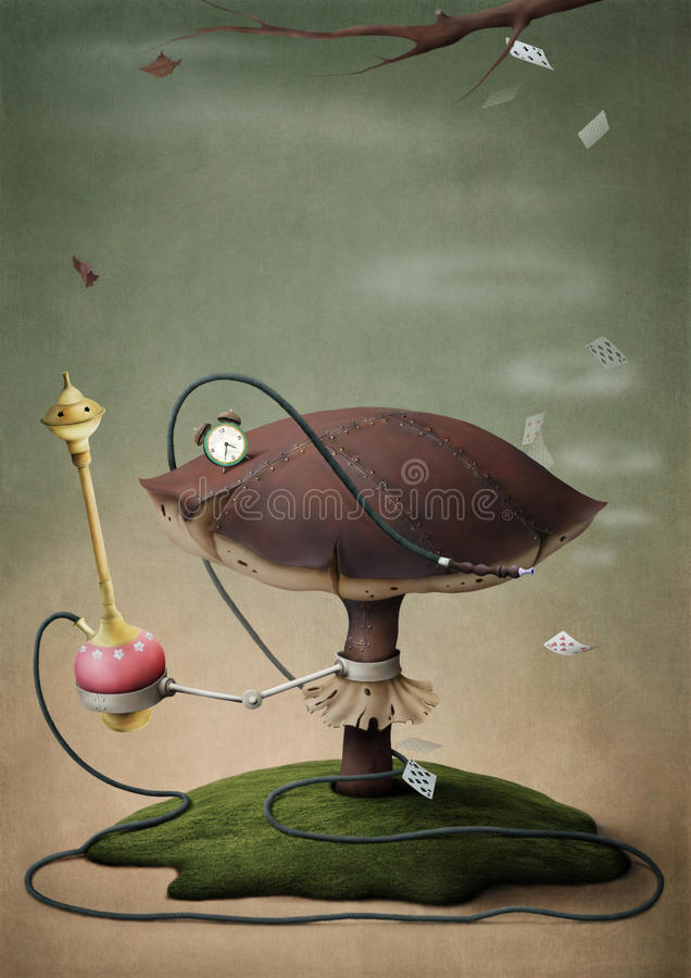 Fantastic mushroom with hookah royalty free illustration