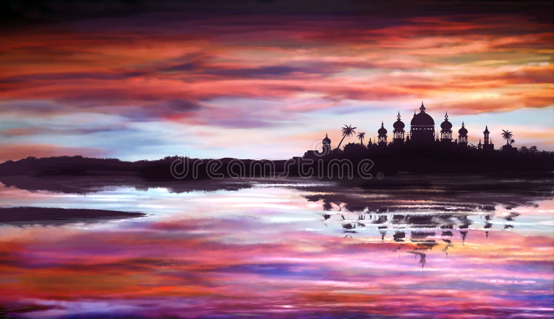 Download Fantastic Oriental Temple Over Water Stock Photos - Image: 4775023