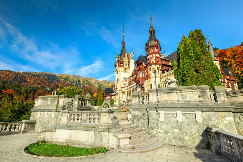 Fantastic Peles Castle With Garden In Autumn, Transylvania, Romania