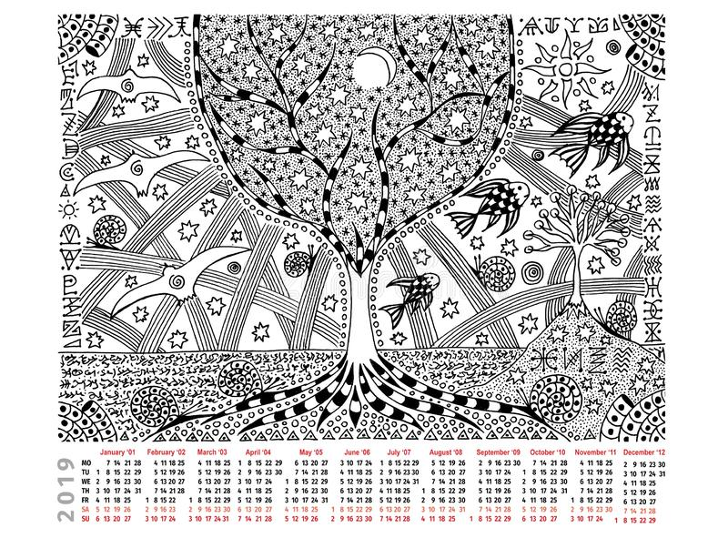 Fantastic picture with calendar 2019. The tree of life, day and night, hieroglyphs. Black and white graphics. stock illustration