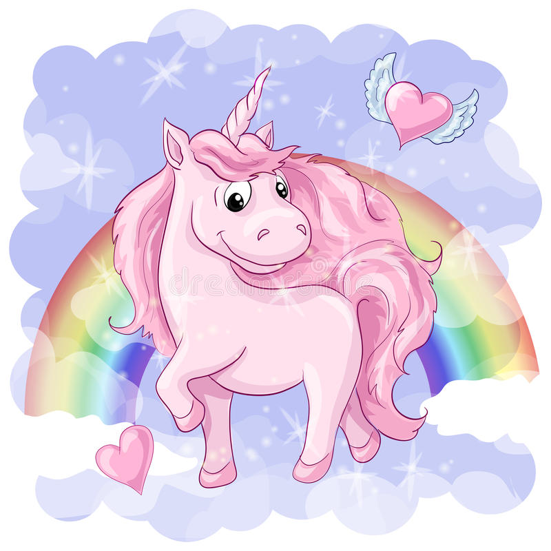 Download Fantastic Postcard With Unicorn, Rainbow And Hearts With Wings. Stock Illustration - Illustration: 92011429