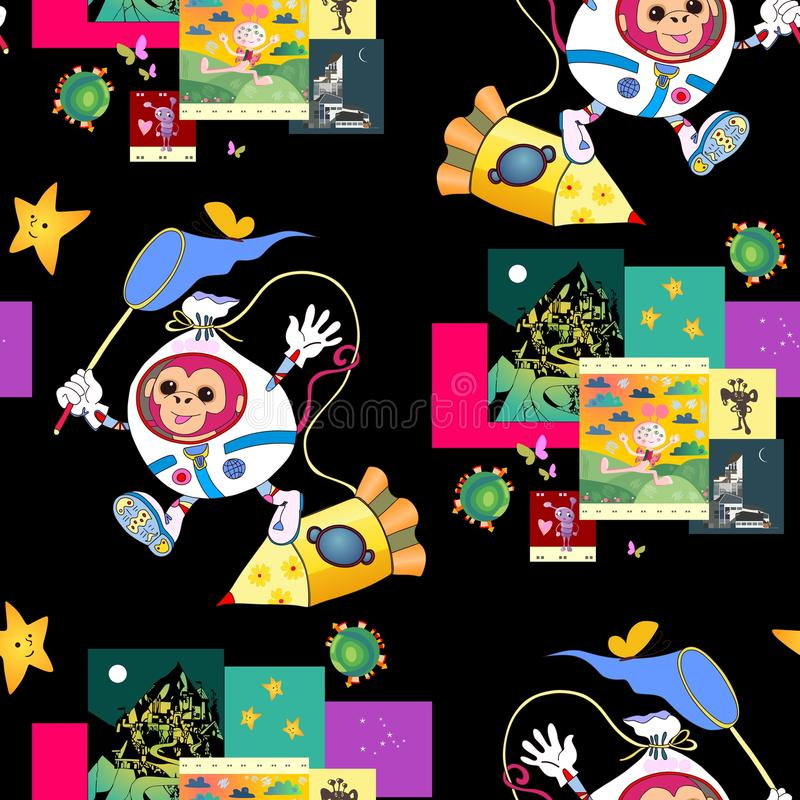 Fantastic print for children with cute monkey astronaut, spacecraft and funny pictures with aliens. Bright seamless vector background. It can be used for bed vector illustration