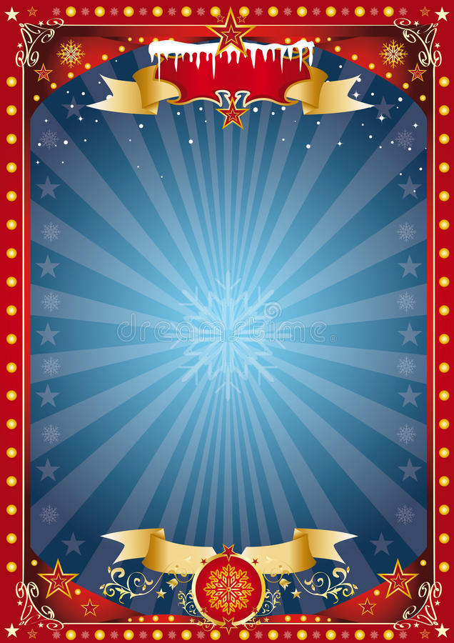 Fantastic red and blue christmas poster stock images