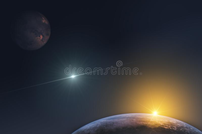 Fantastic representation of the planets in the infinite space of the universe and the rays of the rising sun. Elements of this ima. Ge furnished by NASA stock images