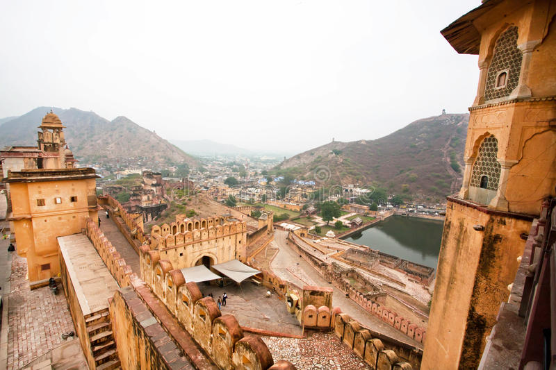 Fantastic scene from the stone walls of the indian Amber Fort stock images