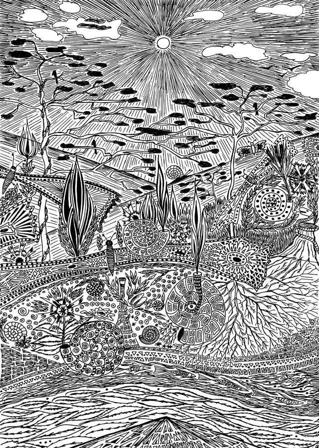Fantastic scenery. Graphics art. Fantastic landscape, black and white graphics royalty free illustration