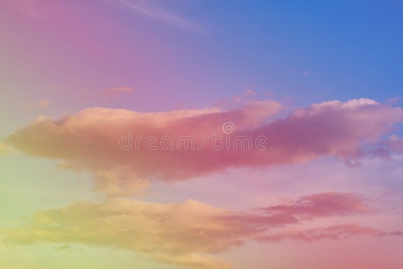 Fantastic sky and colorful clouds. Amazing, background, beautiful, beauty, blue, bright, cloudy, dawn, dusk, environment, evening, fantasy, heaven, holiday royalty free stock image