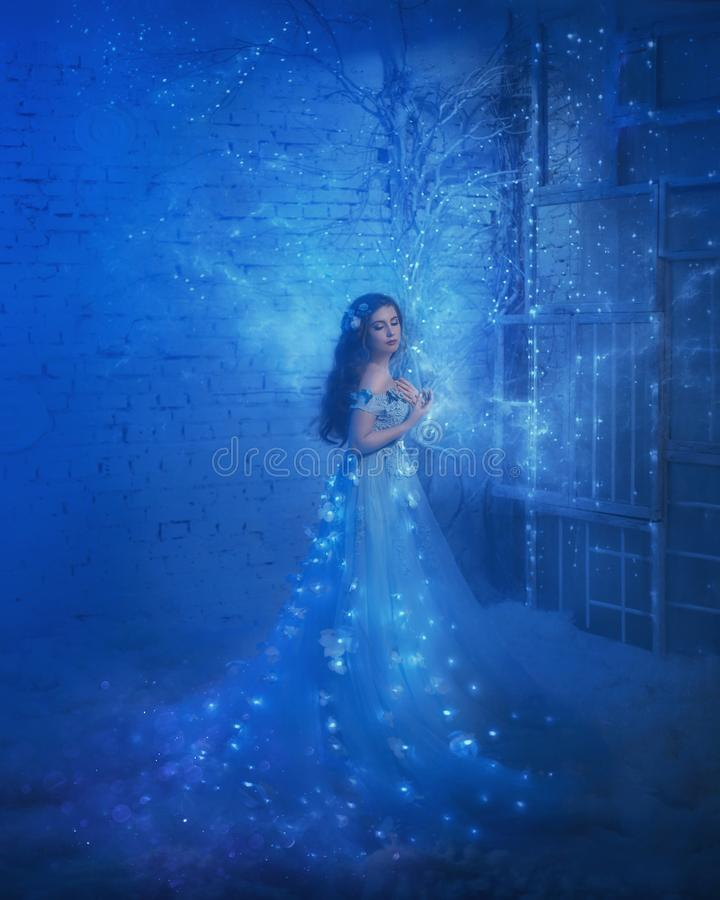 Fantastic snow queen in a luxurious dress, in an ice room. The interior fills with magic, her dress sparkles and glows royalty free stock photos