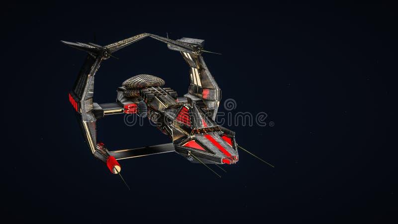 Fantastic spaceship. on a dark. 3D rendering stock illustration
