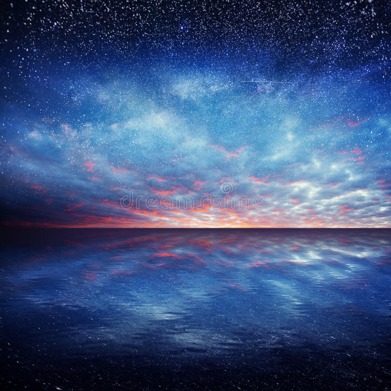 Free Fantastic Starry Sky Over The Sea. Beauty World. Royalty Free Stock Photography - 86194867