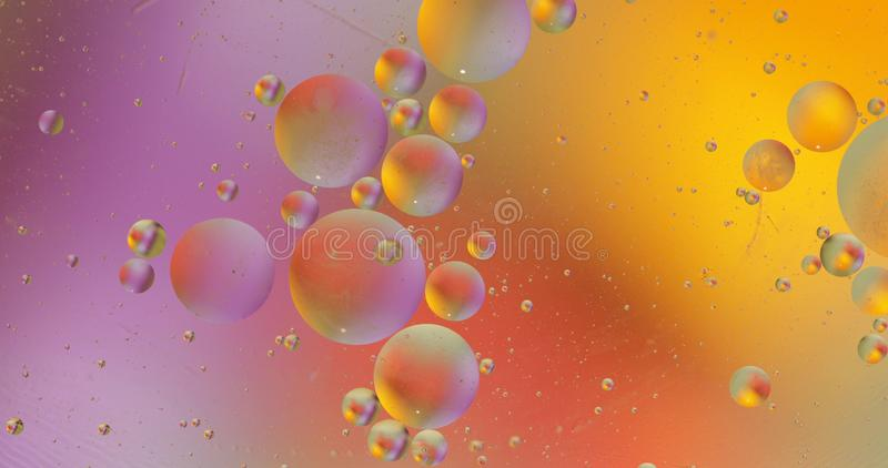 Fantastic structure of colorful bubbles. Abstract multicolored background. Macro. Fantastic structure of colorful bubbles. Abstract colorful paint. Top view stock photography