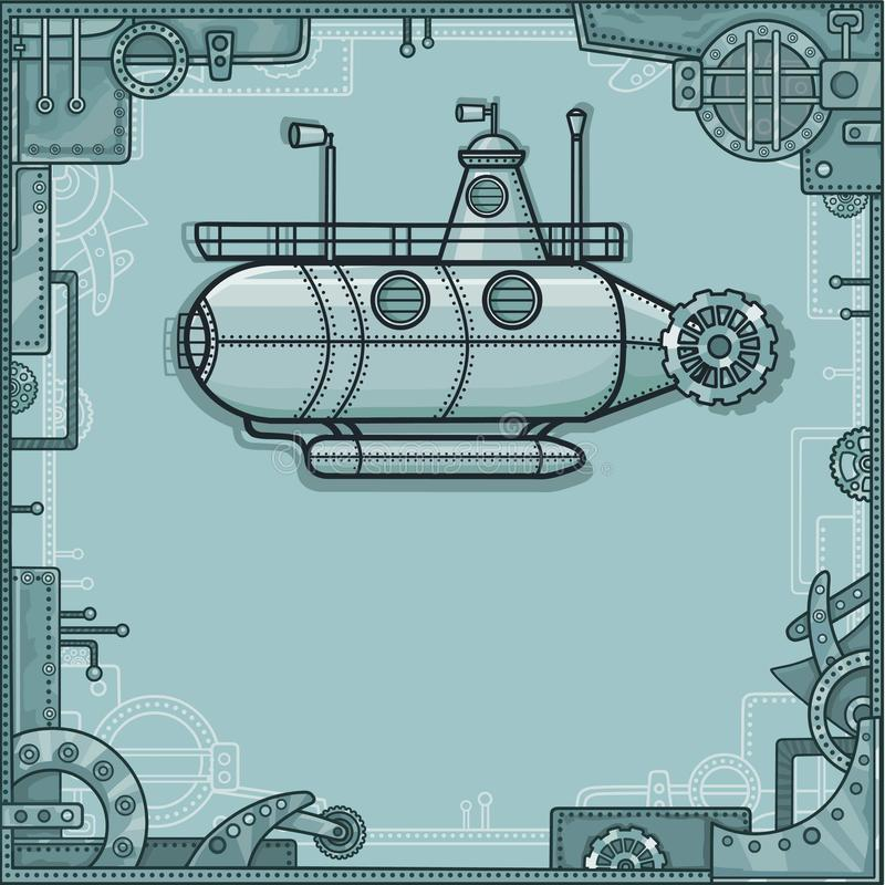 Fantastic submarine. A background - a frame from metal details, the iron mechanism. royalty free illustration