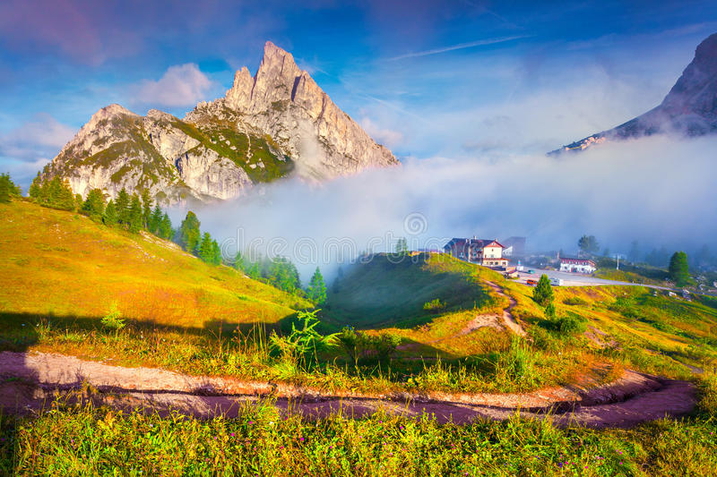 Fantastic summer landscape on the Sass De Stria mountain range. View from Falzarego pass. Dolomites mountains, Alps, Italy, Europe royalty free stock photography