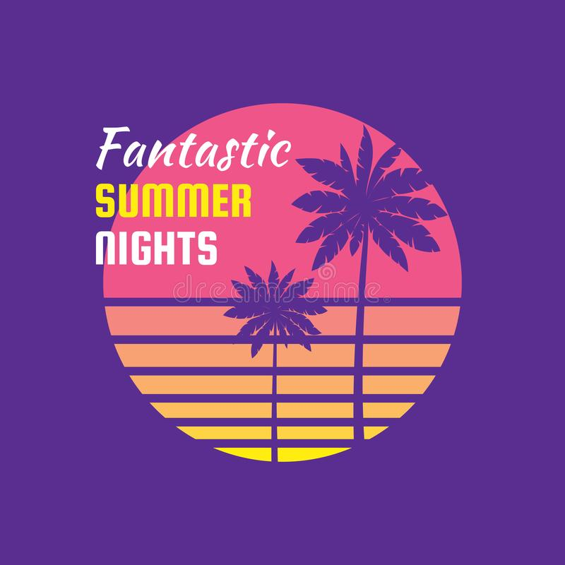 Fantastic summer nights - concept badge vector illustration for t-shirt and other prints. Summer sunset and palm. Tropical royalty free illustration