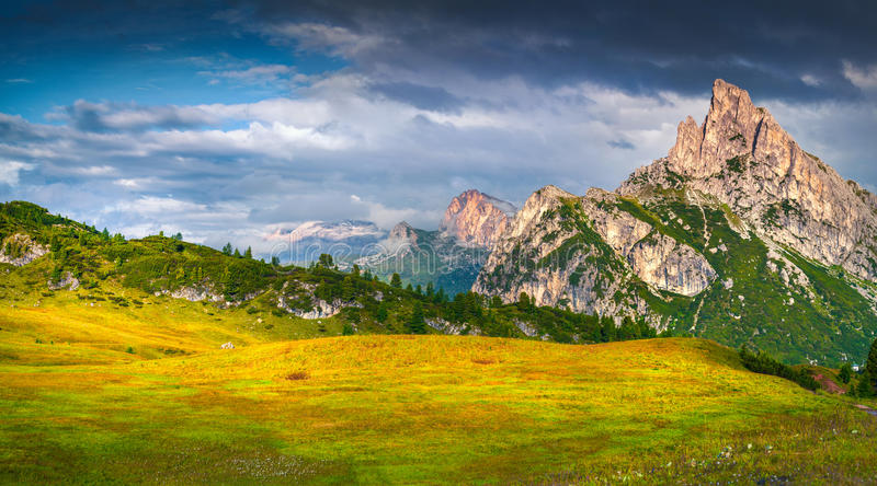 Fantastic summer scene of the Sass De Stria mountain range. View from Falzarego pass. Sunrise in Dolomite Alps, Italy, Europe royalty free stock photo