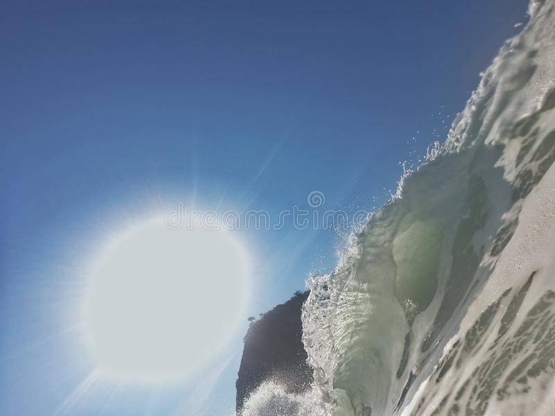 Fantastic sunny day in Rio. Sunny morning day with a beautiful wave crest in the shorebreak of Leme's beach,  Rio de Janeiro  - Brazil, lemes stock images