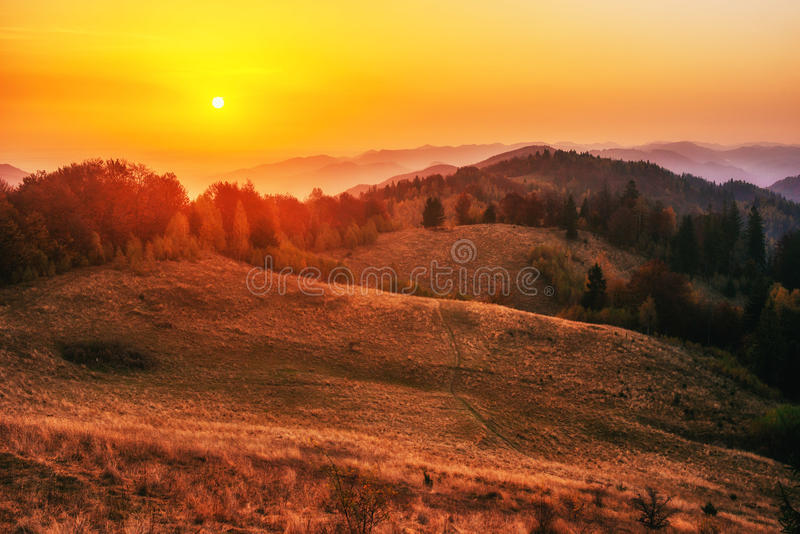 Fantastic sunny hills glowing by sunlight. Carpathian, Ukraine,. Europe stock photography