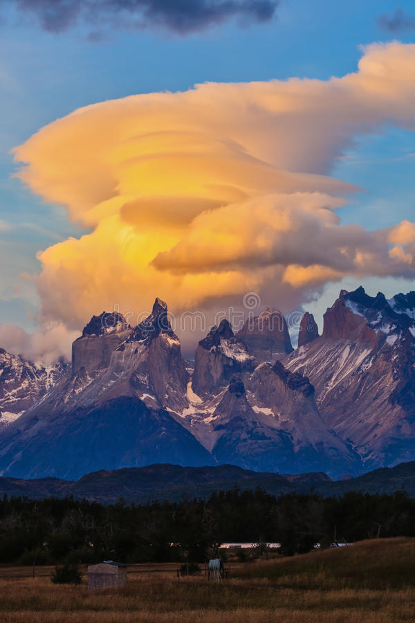 Fantastic sunset in the park Torres del Paine, Chile royalty free stock image
