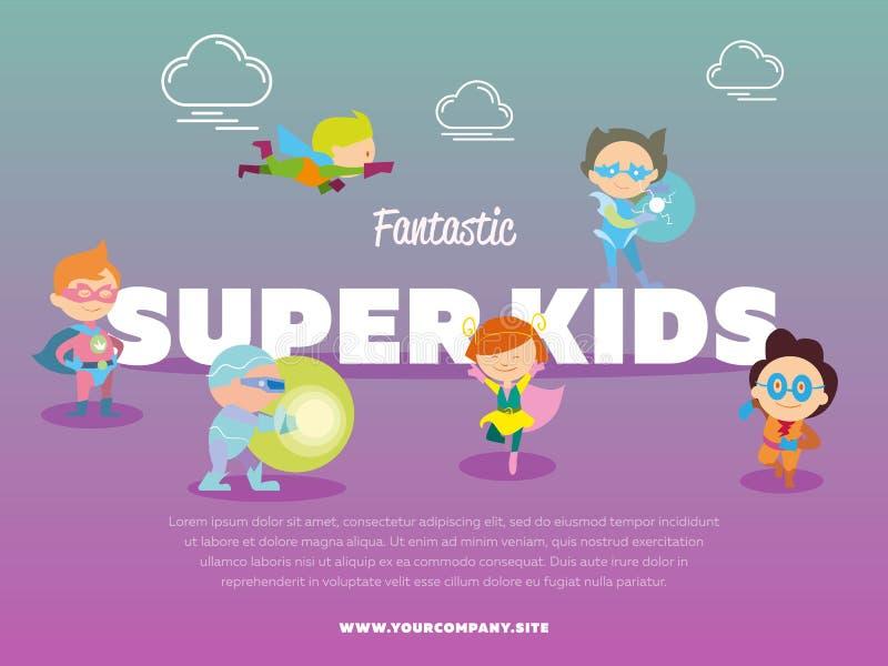 Fantastic super kids banner with children stock illustration