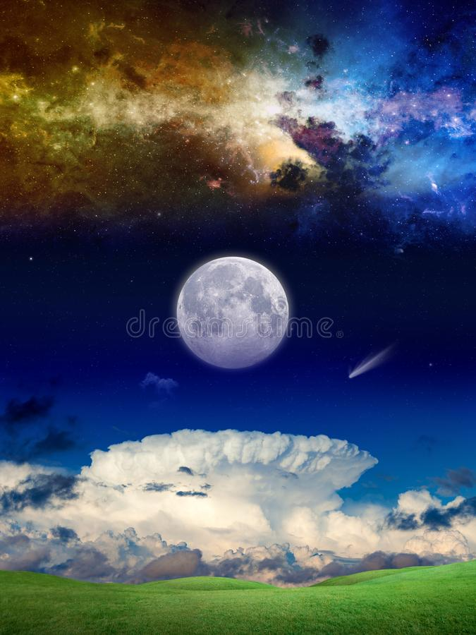 Fantastic supernatural background with galaxy, comet and full mo vector illustration