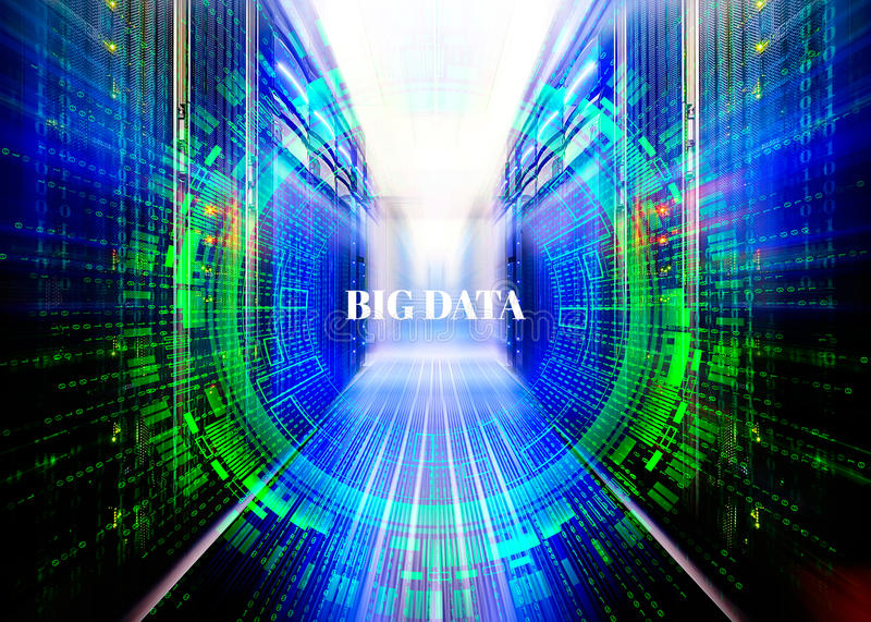 Fantastic symmetric data center room with a binary code penetration servers covered big data concept graphics royalty free illustration