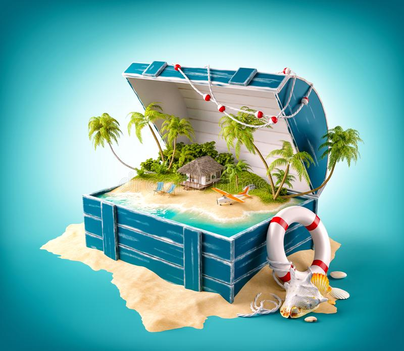 Fantastic tropical island with bungalow. And deck chairs in opened wooden box on a pile of sand vector illustration