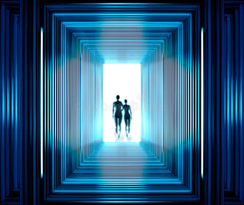Fantastic tunnel and strangers. Fantastic tunnel from which is visible silhouette of aliens stock images