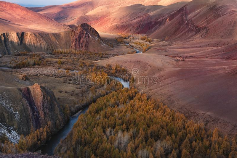 Fantastic Unearthly `Martian` Landscape Of One Of The Most Beautiful Regions Of Russia - Aitai Mountains.The Border Of Mongolia An. D Russia,The Kokorya Gorge royalty free stock photography