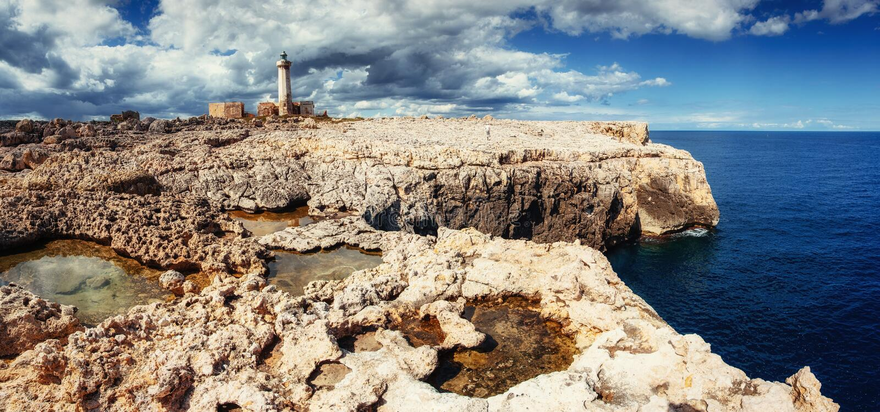 Fantastic view of the nature reserve Monte Cofano. Dramatic scen. E. Location cape San Vito. Sicilia, Italy, Europe. Mediterranean and Tyrrhenian sea royalty free stock images