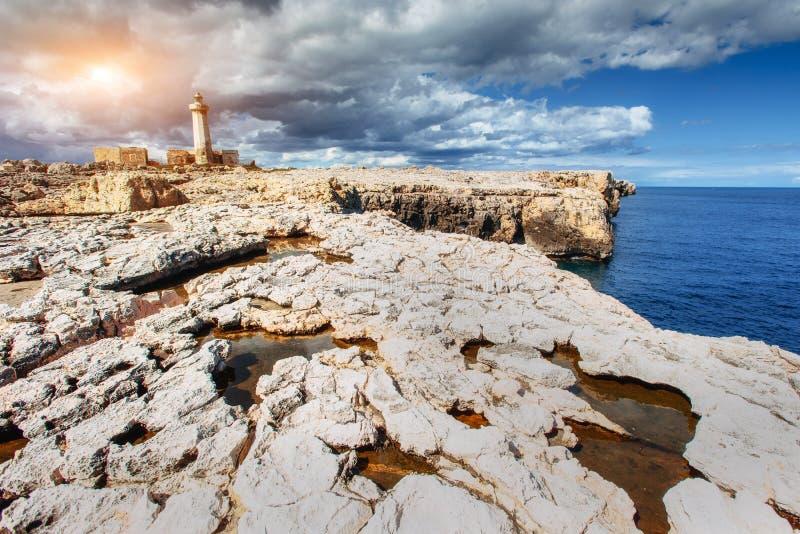 Fantastic view of the nature reserve Monte Cofano. Dramatic scen. E. Location cape San Vito. Sicilia, Italy, Europe. Mediterranean and Tyrrhenian sea royalty free stock image