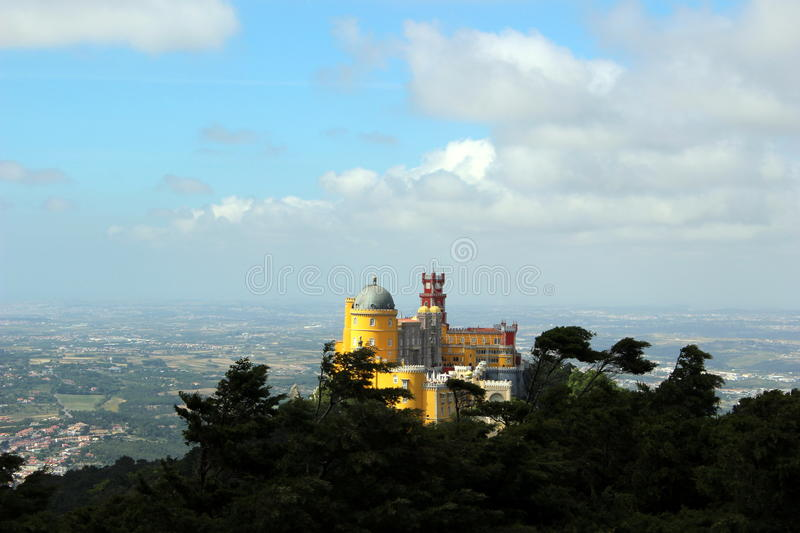 Fantastic view of the Pena Palace in windy weather. royalty free stock image