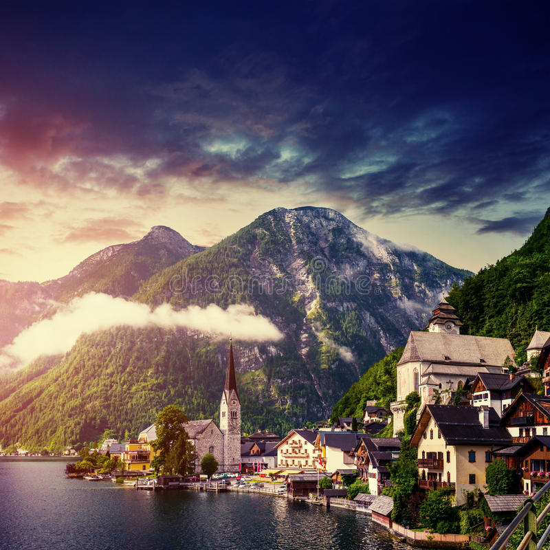Fantastic view the picturesque town of Hallstatt. Austria stock photography