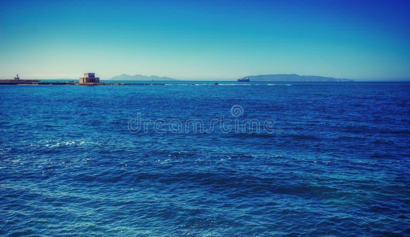 Fantastic views blue sea and horizon of the sky.  royalty free stock image
