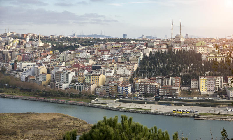 Fantastic views of the city and the hill on a sunny day from a viewing point. Istanbul, Turkey. stock images