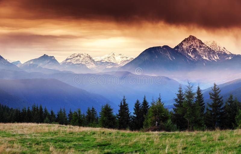 Fantastic views of the mountain range with snow peaks. Location place Salzburg. Austria, Europe royalty free stock image