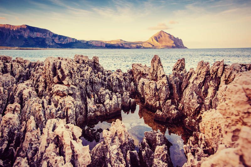Fantastic views of the sea with blue sky. The dramatic and picturesque scene. Isle of Lipari, Sicily, Italy, Europe. Mediterranean and Tyrrhenian Sea stock photography