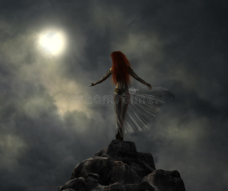 Fantastic warrior woman in the moonlight. A warrior woman on a mountain illuminated by the moonlight on a stormy night royalty free stock images