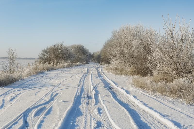 Fantastic winter landscape. On the eve of the holiday. The dramatic scene. Happy New Year. royalty free stock images
