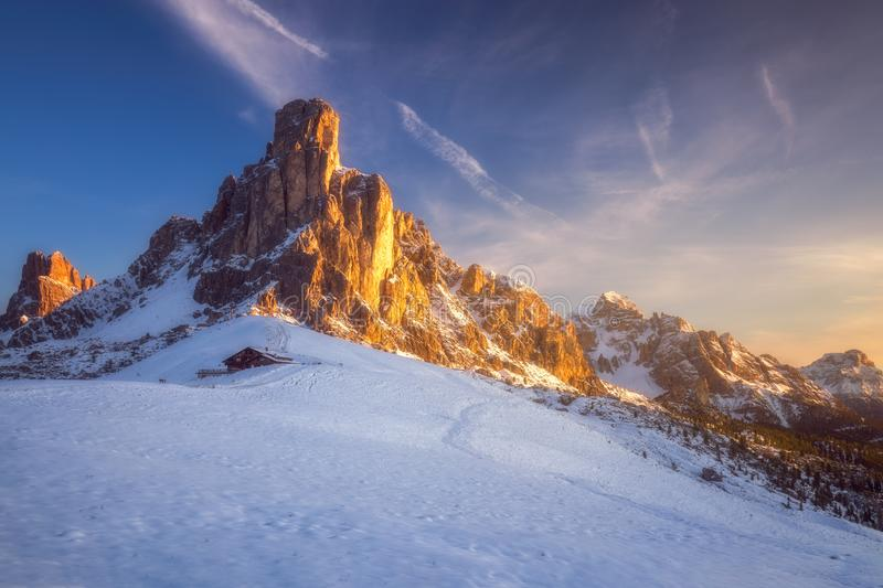 Fantastic winter landscape, Passo Giau with famous Ra Gusela, Nuvolau peaks in background, Dolomites, Italy, Europe.  stock image