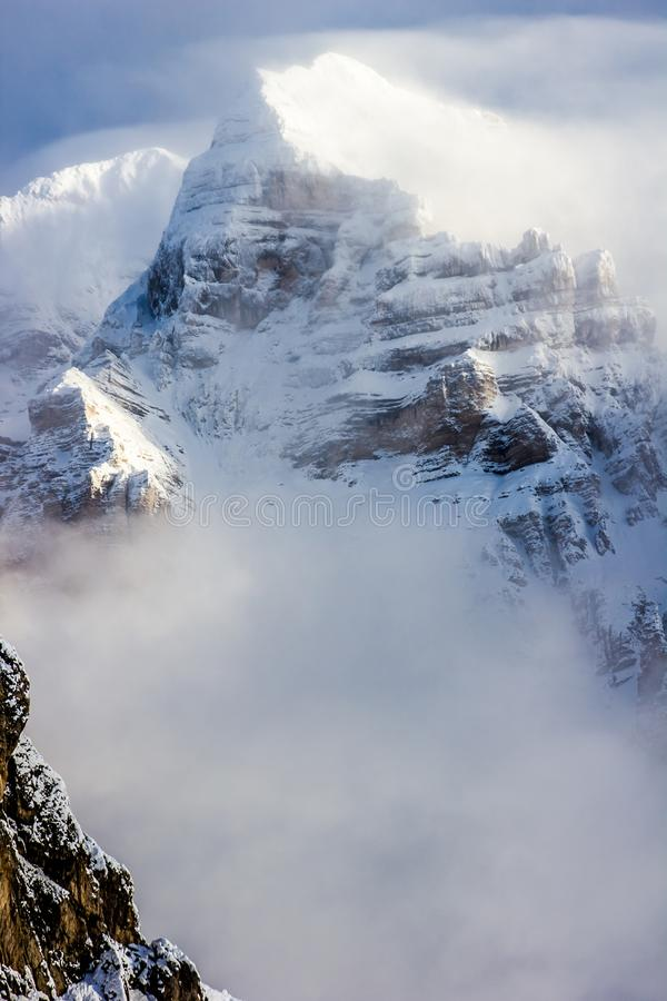 Fantastic winter mountains landscape near Passo Giau, Dolomites. Alps in Italy royalty free stock photos