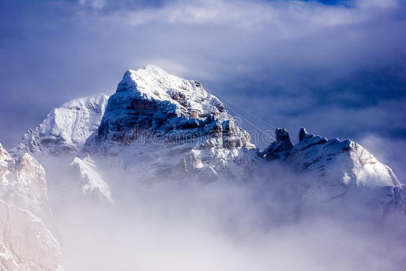 Fantastic winter mountains landscape near Passo Giau, Dolomites. Alps in Italy royalty free stock image