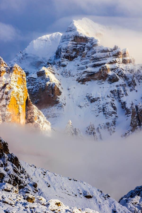 Fantastic winter mountains landscape near Passo Giau, Dolomites. Alps in Italy stock photo