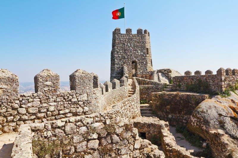 Fantastically moorish fortress in Portugal royalty free stock photos