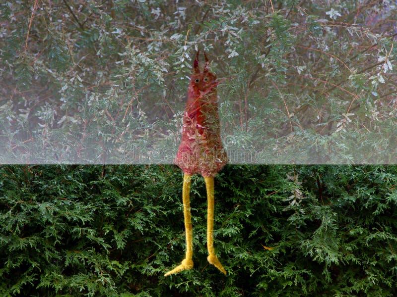 Fantastique jouet de créature à longue patte en laine feutrée, flottant sur un fond de jardin à moitié pâle et à moitié sombre photos stock