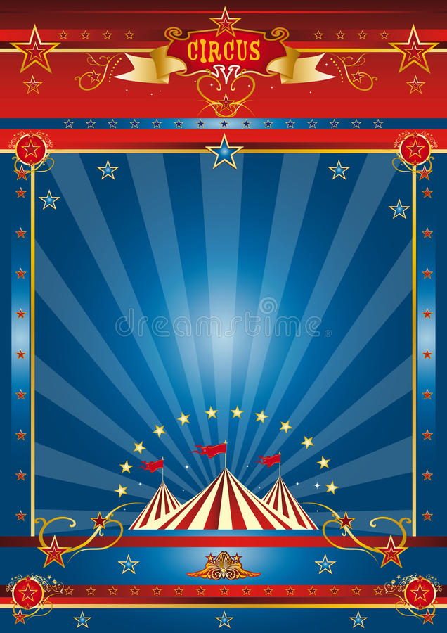Fantastisch blauw circus stock illustratie
